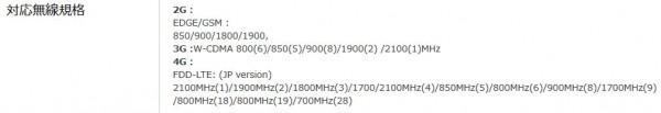 ZeneFone2 周波数帯